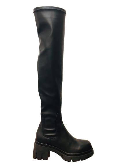 stivale donna| nero| in pelle stretch| gambale alto| maxi suola in gomma dentellata| made in Italy