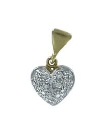 Ciondolo in oro bicolore 18kt e diamanti a forma di cuore