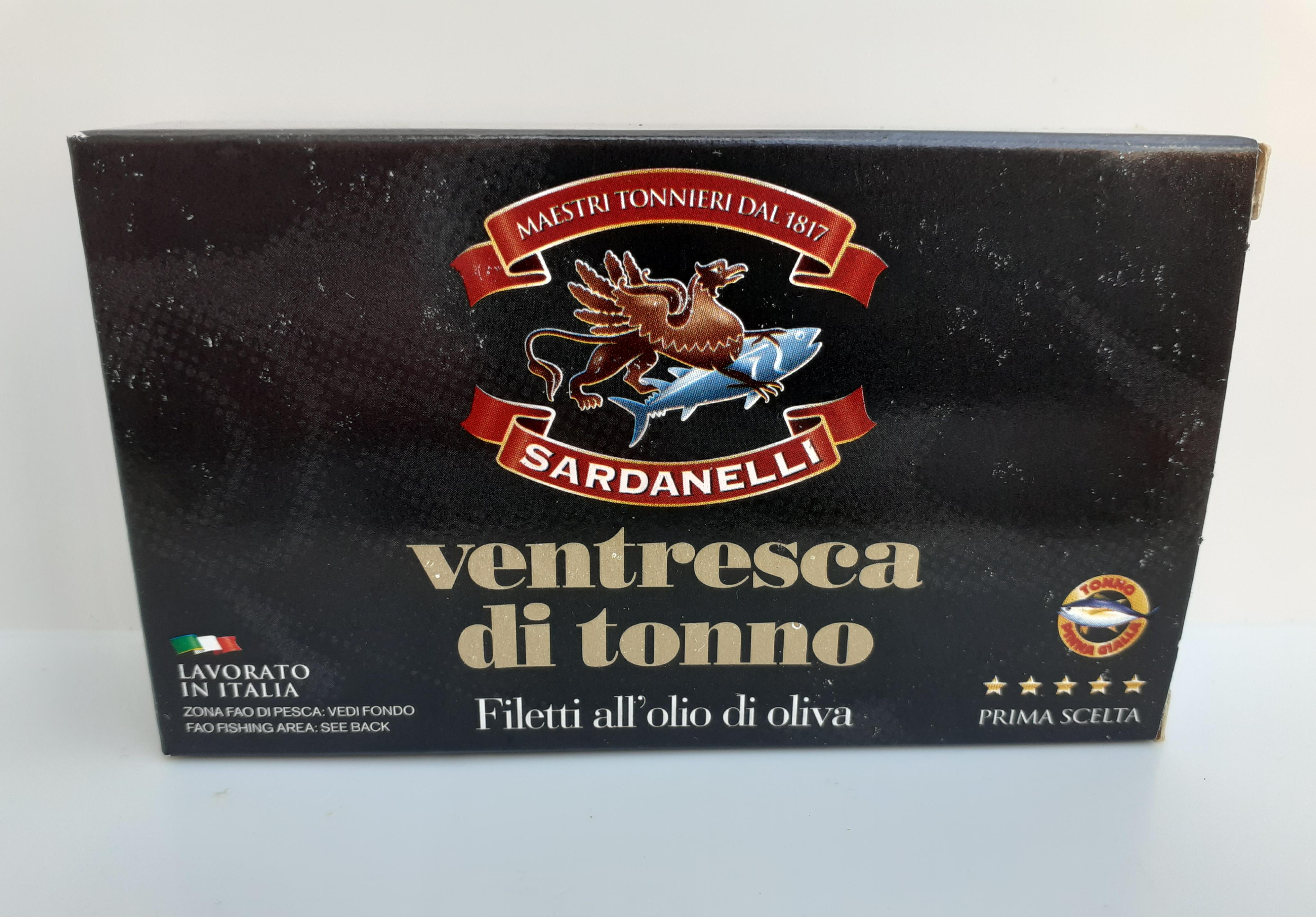 Ventresca di tonno. Filetto all'olio di oliva 120g. Sardanelli Maestri Tonnieri dal 1817 Maierato (VV)