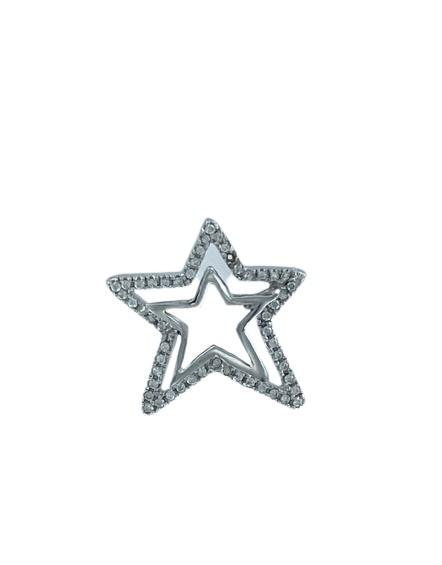Ciondolo in oro bianco 18kt e zirconi a forma di stella