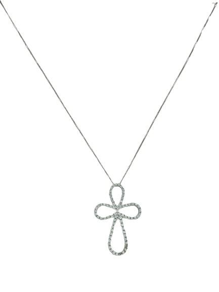 Girocollo in oro bianco 18kt con croce in oro bianco e diamanti