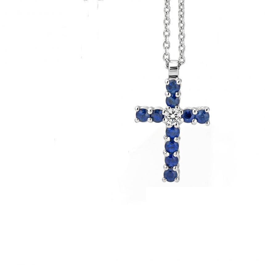 Collana Croce in Oro Bianco con Brillante e Zaffiri Ceylon Blu