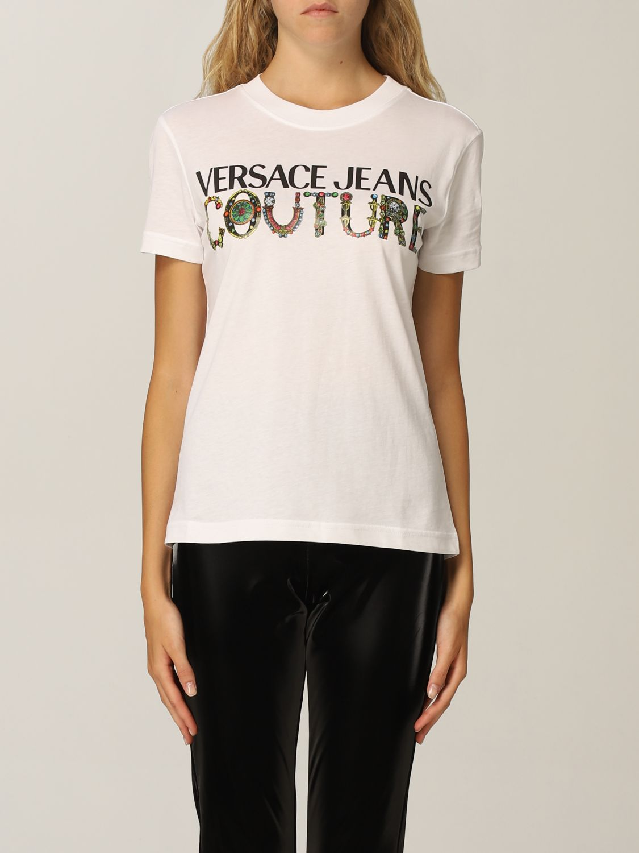 T-shirt con logo davanti di Versace Jeans Couture