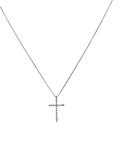 Girocollo in oro bianco 18kt con croce latina in oro bianco e diamanti