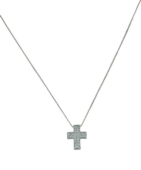 Girocollo in oro bianco 18kt con croce greca in oro bianco e diamanti