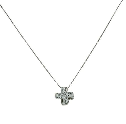 Girocollo Giorgio Visconti in oro bianco 18kt con croce in oro bianco e diamanti