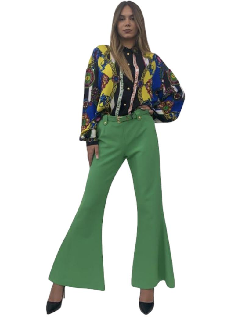 Pantalone a zampa verde con cinturino Versace Jeans Couture