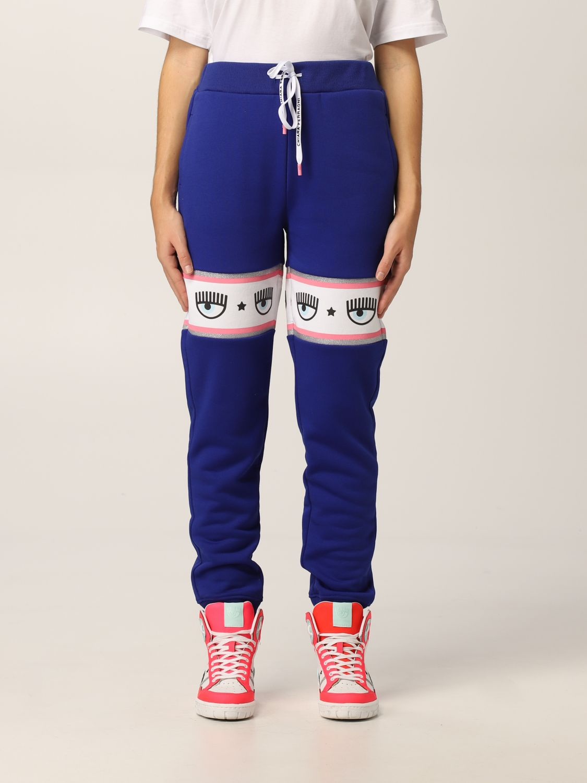 Pantaloni di tuta blu con logo mania di Chiara Ferragni