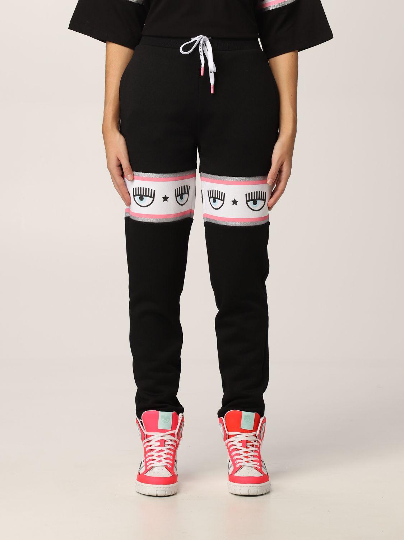 Pantalone di tuta nero con logo Chiara Ferragni
