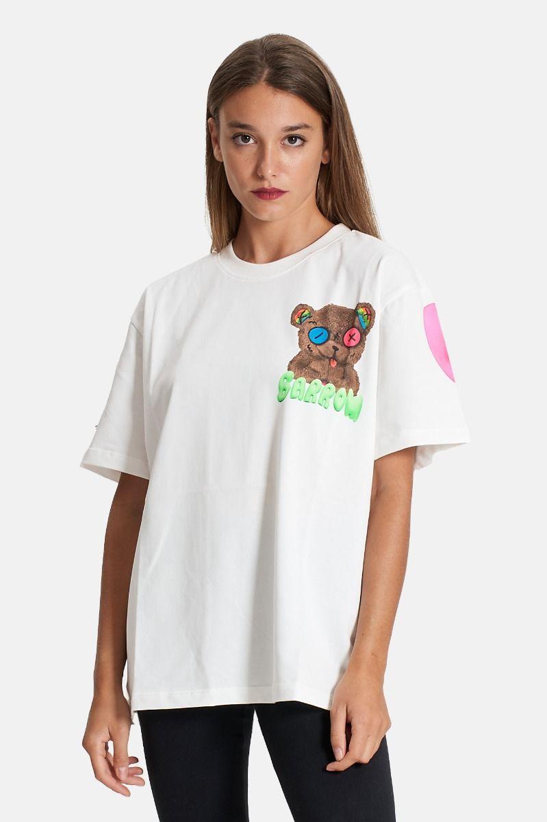 T-shirt over unisex bianca con logo multicolore Barrow