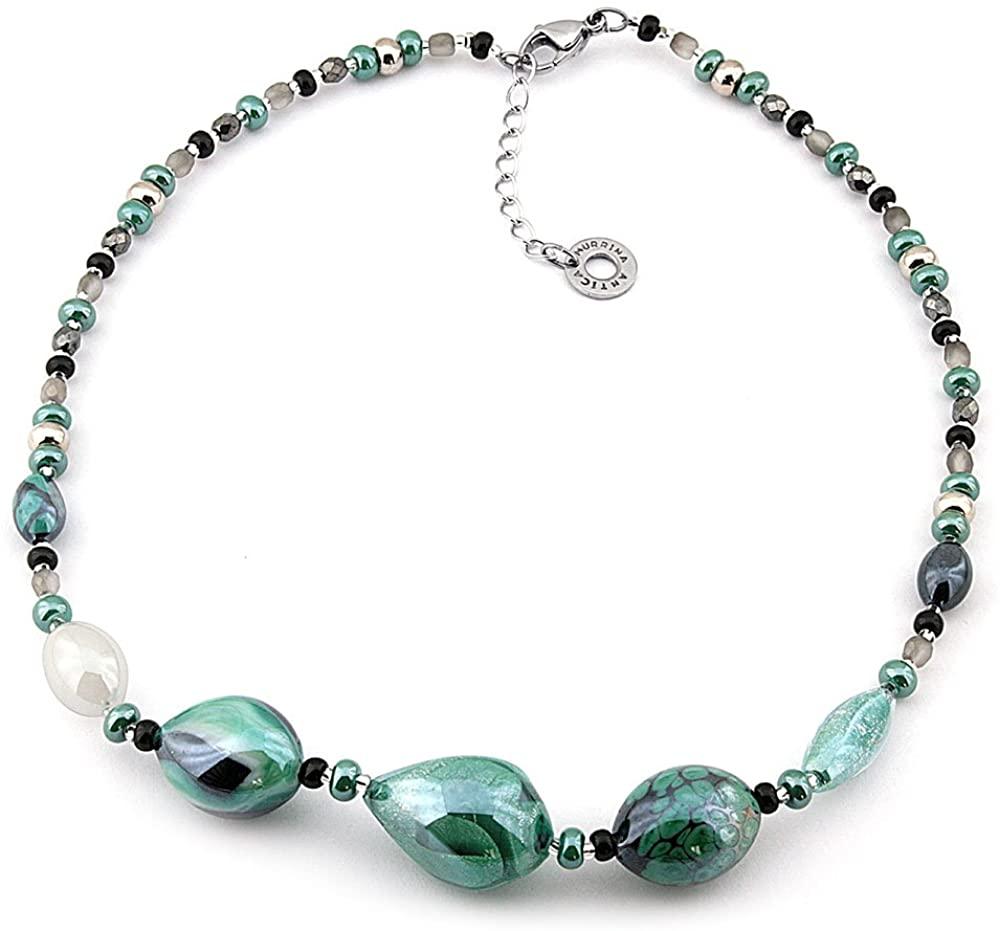 Girocollo in filo di metallo e perle in vetro soffiato antica murrina