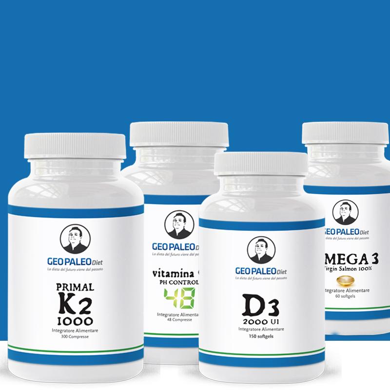 SUPER COMBO POTENZIATA: Primal K2 + D3 compresse + Omega3 Wild Atlantic+ Vitamina C Ph Control 48