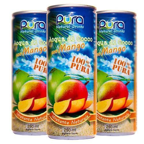ACQUA DI COCCO Gusto Mango - Confezione da 6 lattine da 280ml - NUOVO FORMATO
