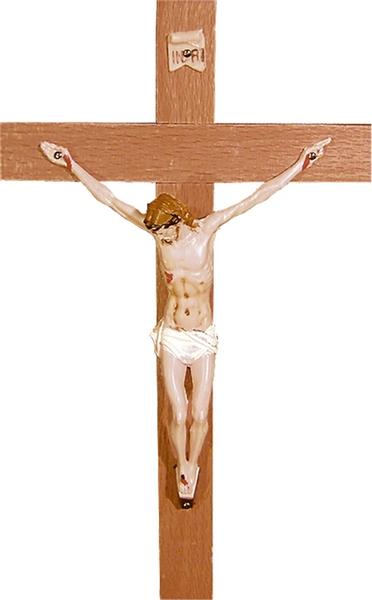 Croce legno cm. 22 corpo plastca dipinto